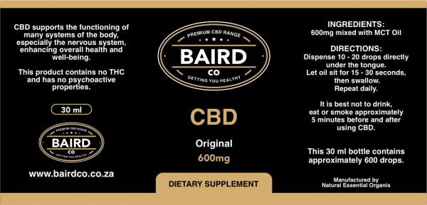 600mg label image Bairdco